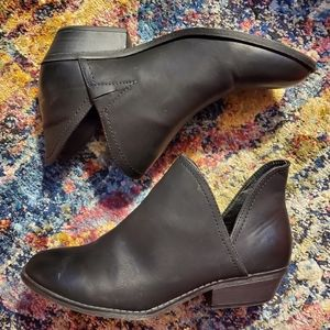Faux Leather Black Ankle Boots / Booties Size 10